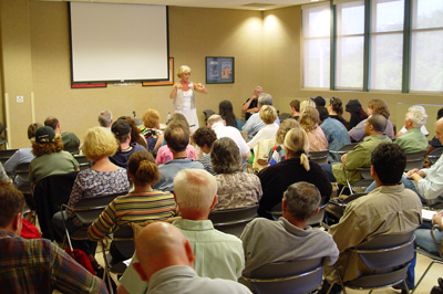 Marla Miller speaks at the Greater Los Angeles Writers Society