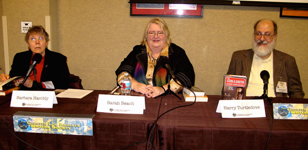 Barbara Hambly, Sarah Beach and Harry Turtledove at the Greater Los Angeles Writers Society